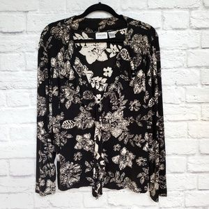 Chico's Travelers Black Floral Ruffle Cardigan